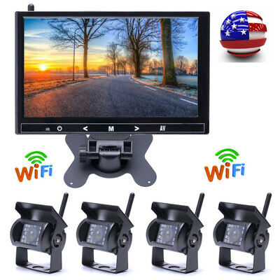 """For RV Truck Bus 9"""" Monitor + 4 X Wireless Rear View Backup Night Vision Camera"""