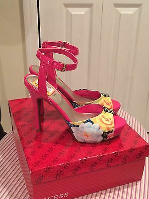 ee5058e7b984 GUESS MULTI-COLORED FLORAL heels - Hot Pink -  25.00