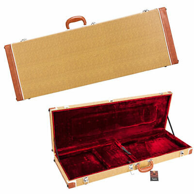 """41"""" Universal Square Electric Guitar Wood & Leather Hard Case Shell Lockable"""