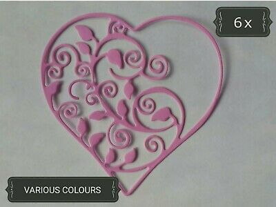 Ornate Heart Swirls Paper Die Cuts x8 Scrapbooking Card Topper Embellishment