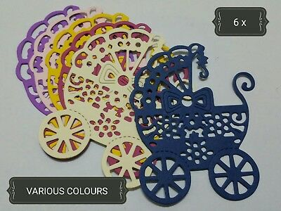 Ornate Baby Pram Paper Die Cuts x6 Scrapbooking Card Topper Embellishment