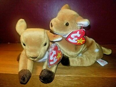 fb14049b234 Authentic TY The Beanie Babies  97  98 Retired 2 WHISPER THE FAWNS NWT