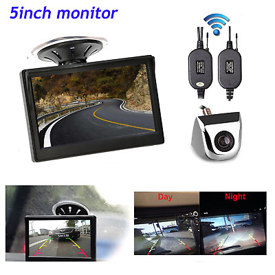 """Wireless 5"""" Car Rear View Monitor Parking Assist Silver Reverse Backup Camera"""
