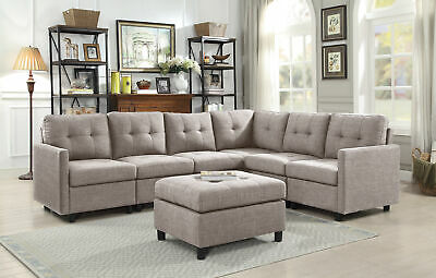 CONTEMPORARY SECTIONAL SOFA Set Couch Fabric Reversible Chaise Light ...