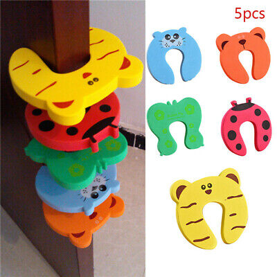 5pcs Children Baby Safety Cartoon Door Stopper Clip Clamp Pinch Hand Security AI