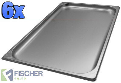 """BRAND NEW"" 6 PACK OF 1/1 STAINLESS STEEL GASTRONORM TRAYS 530mm x 325mm x 20mm"