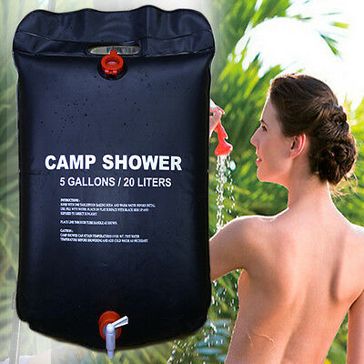 20L Foldable Shower Bag PVC Solar Energy Heated Water Bag Camp Outdoor Travel