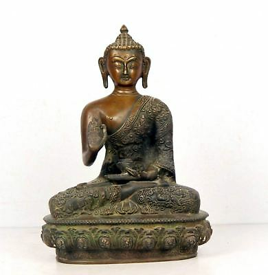 Antique Look Buddha Sculpture/statue Collectibles Handcarved Blessings Pose 5545