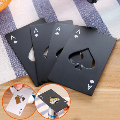 Black Beer Bottle Opener Poker Card Ace of Spades Stainless Steel Bar Kitchen