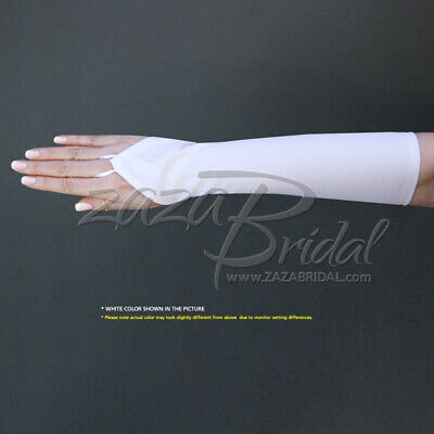 Stretch Dull Matte Satin Fingerless Gloves 8BL/No Shine, Elegant Look