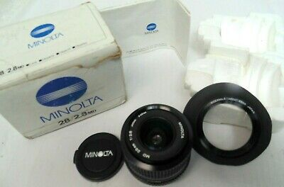 Minolta MD Mount 28mm f/2.8 Manual Focus Wide Angle Lens in Box!! Excellent.,