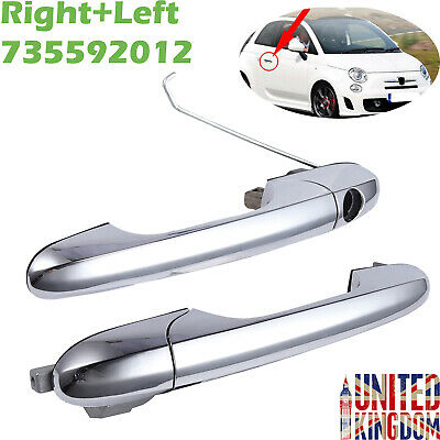 For Fiat 500 Offside 735592012 Right+Left Driver Side Chrome Outer Door Handle
