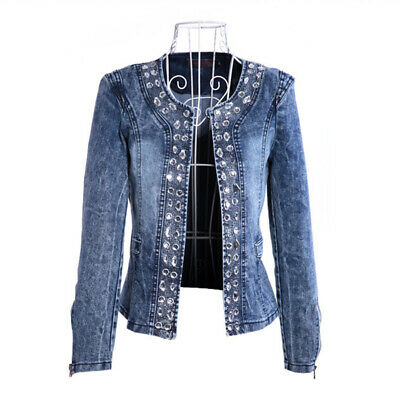 S-4XL Rhinestone Sequins Women's Denim Jackets Spring Autumn Vintage Jeans Coat