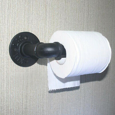 Metal Rustic Toilet Paper Roll Holder Iron Wall Mounted Pipe Black Bathroom