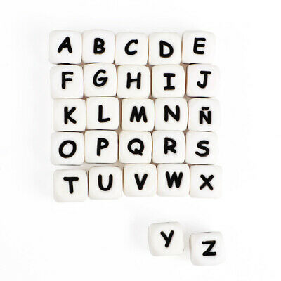 10PC A-Z Letter Alphabet Silicone Beads Baby Teether Chewing Bead DIY Necklace