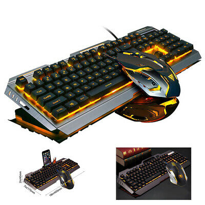 Keyboard and Mouse Sets With USB LED Backlight Mechanical Wired Gaming Ergonomic