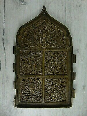 Antique 19th Russian Orthodox bronze icon. Two sides!