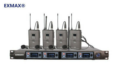 UHF 4 Channels Diversity Wireless Microphone System W/ 4 Waist Mounted Receiver