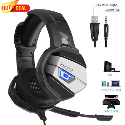 3.5mm Gaming Headset Stereo MIC LED Headphones For Mac PC Laptop PS4 Xbox One