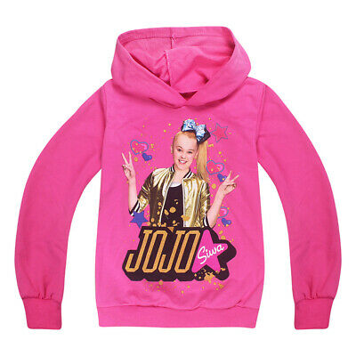 Kids Jacket Jojo Siwa Cute Loose Girl Printed Coat Hooded Sweatshirt Outwear