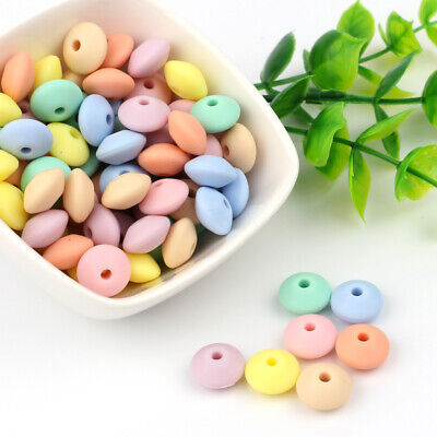 30PC Food Grade Lentil Silicone Beads Teether BPA Free Baby Teething DIY Kid Toy