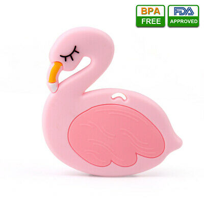 Baby Silicone Teether Flamingo Bird Infant Teething Chewable Soft Toy BPA-free