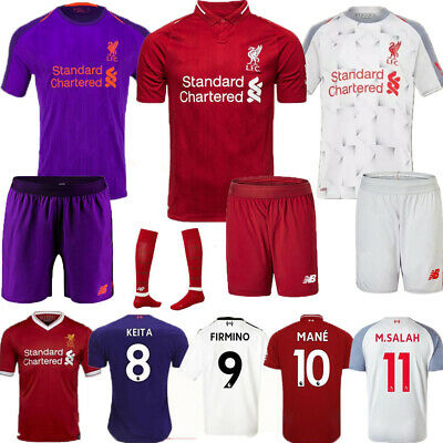 2019 Football Kits M.SALAH Soccer Short Sleeve Strips For 3-14 Y Kids Boys+Socks