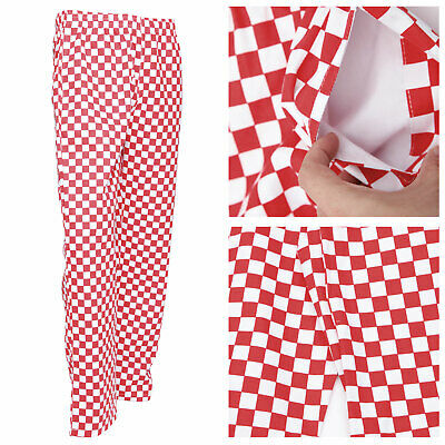 1e5aab840ee1 Chef Trousers Red Check Elasticated Chefs Uniform Unisex Pockets Good  Quality