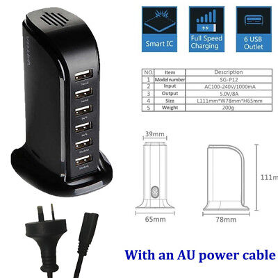 Multi 6 USB Port Desktop Charger Rapid Tower Charging Station Power Adapter CCUU