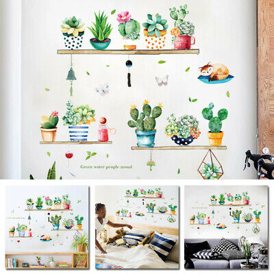 Potted Cactus Leaf  Wall Sticker Cupboard  Removable Mural Art Home Decorations