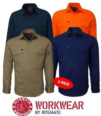 Ritemate - Pack Of 2 - Closed Front Long Sleeve Mens Work Shirt - Rm100Cf