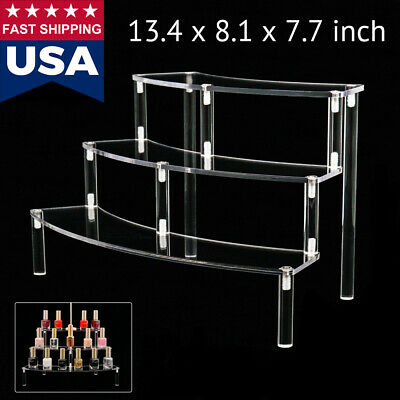 US Clear Acrylic Riser 3-Tier Arc Display Shelf Removable Rack for Figures Toys