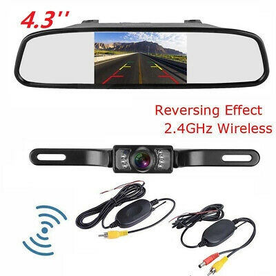 4.3'' LCD Car Rear View Monitor Built-in Wireless Reverse IR Night Vision Camera