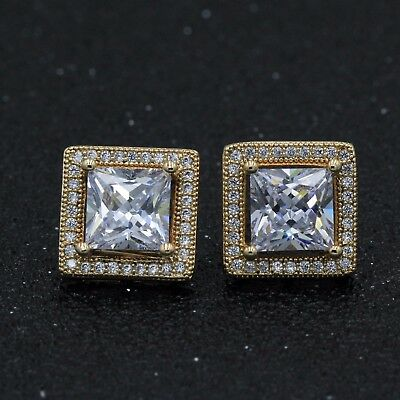 12mm Men Lady 18k Yellow Gold Filled Big Square Cubic Zirconia Studs Earring