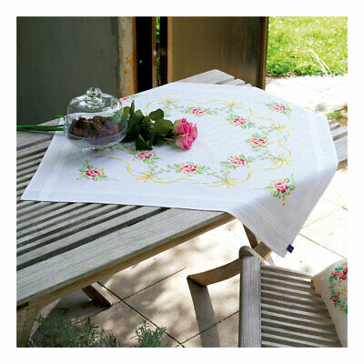 Embroidery Kit Tablecloth Rose Garland Design Stitched on Cotton Fabric |80x80cm