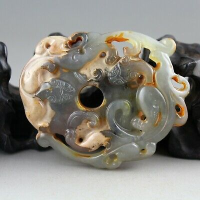 3'' Chinese old gray jade hand-carved dragon beast statue collect pendant 0256