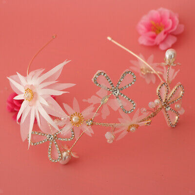 Wedding Bridal Flower Pearls Crystal Headband Headpieces Hair Jewelry
