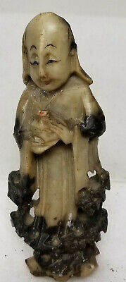 Antique Vintage Chinese Carved Soapstone Deity Immortal Lohan Repaired As Is