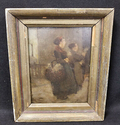 Antique Central European German Oil Painting on Panel Signed Stamp Werkau