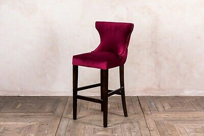Wine Red Velvet Seat Bar Stools French Style Bar Stools