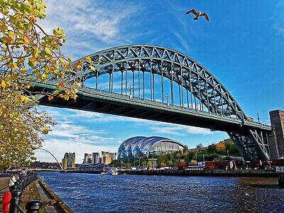Tyne Bridge and The Sage, Quayside, Newcastle-upon-Tyne. Colour Picture, Poster.