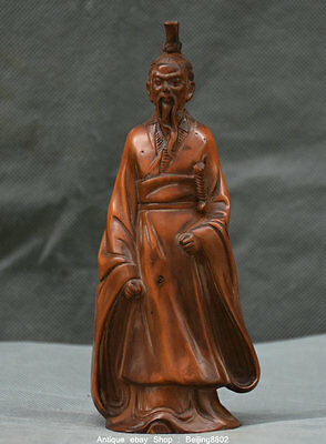 "6""Rare Old Chinese Boxwood Wood Carved Qin Shi Huang First Emperor of Qin Statue"