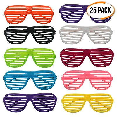 25 x Shutter Shades 80s Neon Retro Glasses Clubbing Fancy Dress Party Hen Stag