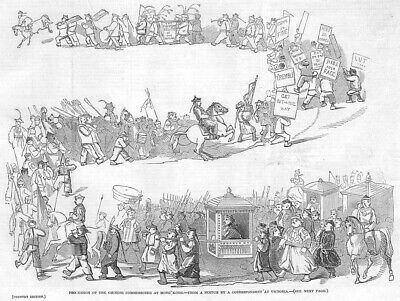 HONG KONG Procession of the Chinese Commissioner - Antique Print 1846