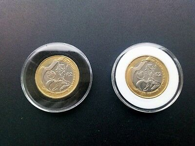 40mm ACRYLIC COIN CAPSULES (5;10;20 pcs)black or white insert for 2 POUNDS COIN
