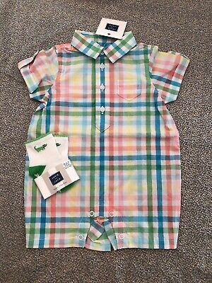 NWT Janie and Jack boy SPRING 2-piece blue plaid romper EASTER horse SET 0 3 6