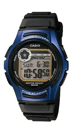 Casio Men's Quartz Illuminator 5 Alarm Black & Blue Resin 40Mm Watch W213-2Av