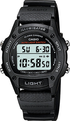 Casio Men's Quartz Illuminator Dual-Time Black Resin 36.5Mm Watch W93h-1Av