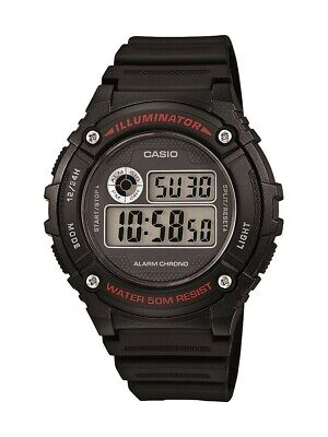 Casio Men's Quartz Illuminator Alarm Chrono Black Resin 43mm Watch W216H-1AV