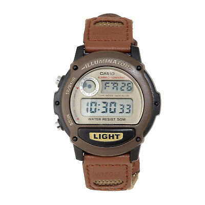 Casio Men's Quartz Illuminator Digital Alarm Brown Nylon 42mm Watch W89HB-5AV
